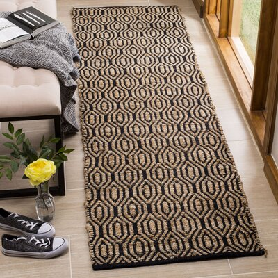 Astor Place Hand-Woven Black/Natural Area Rug Rug Size: Runner 23 x 8