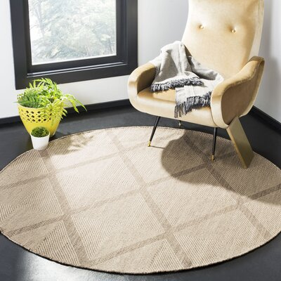 Shevchenko Place Hand-Woven Cream Area Rug Rug Size: Round 6