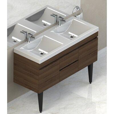 Byrns 48 Double Bathroom Vanity Set Base Finish: Walnut