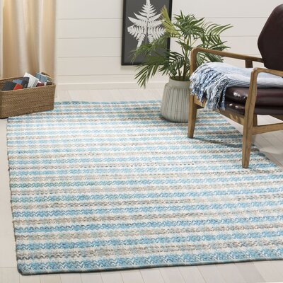 Ingleside Hand-Woven Aqua/Gray Area Rug Rug Size: Rectangle 5 x 8