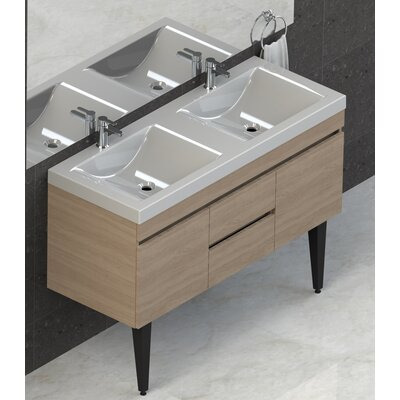 Byrns 48 Double Bathroom Vanity Set Base Finish: Latte