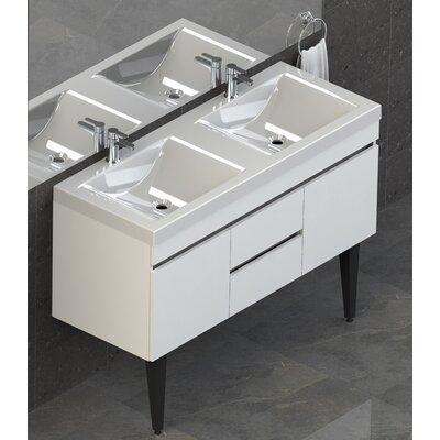 Byrns 48 Double Bathroom Vanity Set Base Finish: White Thermolaminate