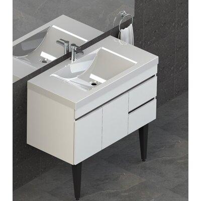 Byrns 37 Single Bathroom Vanity Set Base Finish: White Thermolaminate