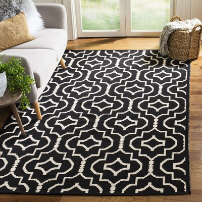 Rennie Hand-Woven Black/Ivory Area Rug Rug Size: Rectangle 5' x 8'