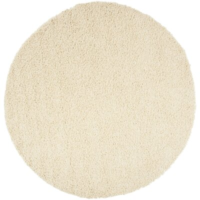 Fornax Shag Ivory Area Rug Rug Size: Round 67