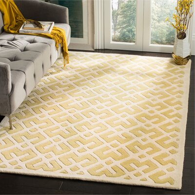 Wilkin Hand-Tufted Wool Light Gold Area Rug Rug Size: Rectangle 5 x 8