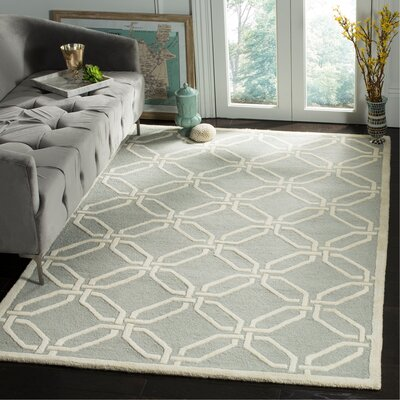 Martins Hand-Tufted Light Grey/Ivory Area Rug Rug Size: Rectangle 5 x 8