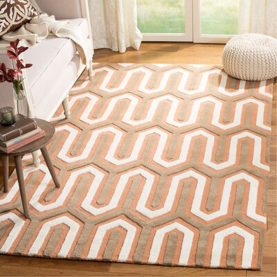 Martins Hand-Tufted Orange/Grey Area Rug Rug Size: Rectangle 5 x 8