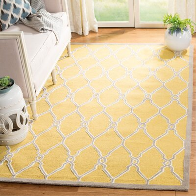 Martins Hand-Tufted Gold/Ivory Area Rug Rug Size: Rectangle 5' x 8'
