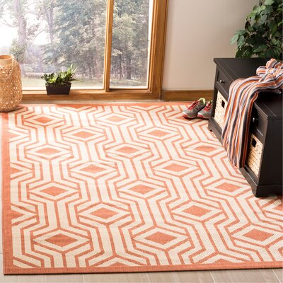 Jefferson Place Red/Beige Indoor/Outdoor Area Rug Rug Size: Rectangle 53 x 77