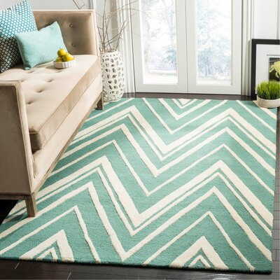 Martins Hand-Tufted Teal/Ivory Area Rug Rug Size: Rectangle 5 x 8