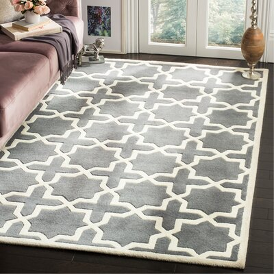 Wilkin Hand-Woven Dark Gray Area Rug Rug Size: Rectangle 5 x 8