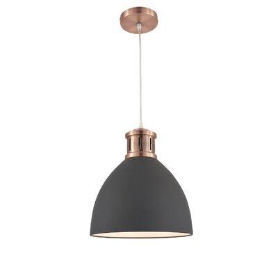 Pillar 1-Light Inverted Pendant Shade Color: Black