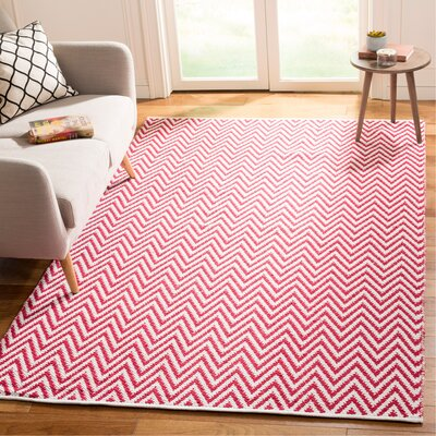 Whitton Hand-woven Red/Ivory Area Rug Rug Size: Rectangle 5 x 8