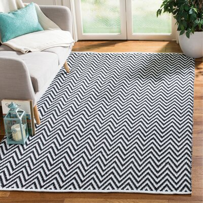 Whitton Hand-Woven Black/Ivory Area Rug Rug Size: Rectangle 5 x 8