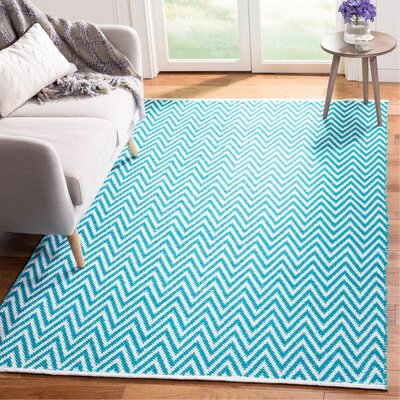 Whitton Hand-Woven Turquoise/Ivory Area Rug Rug Size: Rectangle 5 x 8