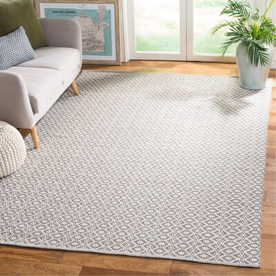Whobrey Hand Woven Ivory/Gray Area Rug Rug Size: Rectangle 6 x 9