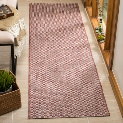 Jefferson Place Rust/Light Gray Outdoor Area Rug Rug Size: Runner 23 x 8