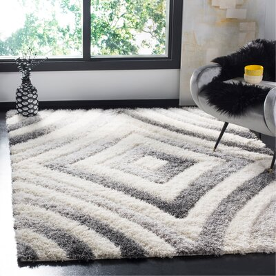Adamski Cream/Gray Area Rug Rug Size: Rectangle 51 x 76