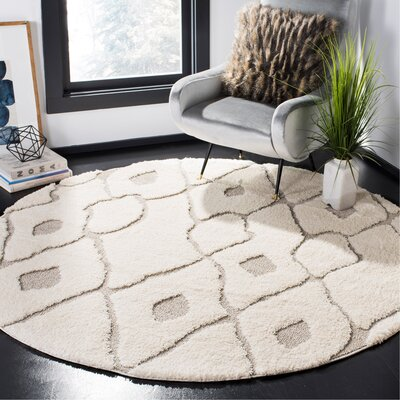 Helms Cream/Brown Area Rug Rug Size: Round 67