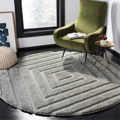 Helms Brown/Gray Area Rug Rug Size: Round 67