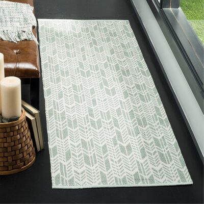 Paz Hand-Woven Light Green/Ivory Area Rug Rug Size: Runner 23 x 7