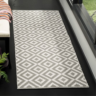 Lavallee Hand-Woven Gray/Ivory Area Rug Rug Size: Runner 23 x 7