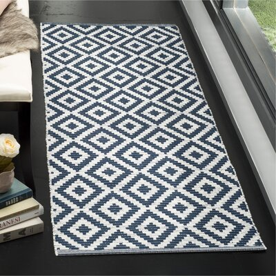 Harlow Hand-Woven Navy/Ivory Area Rug Rug Size: Runner 23 x 7