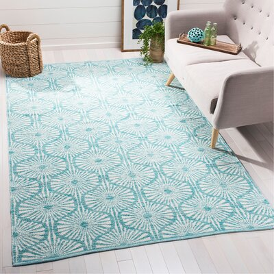 Oak Hill Hand-Woven Aqua/Ivory Area Rug Rug Size: Rectangle 5 x 8