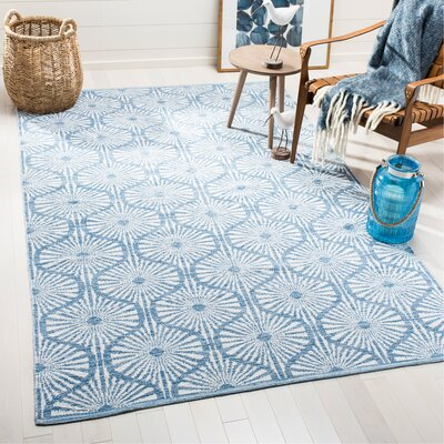 Oak Hill Hand-Woven Blue/Ivory Area Rug Rug Size: Rectangle 5 x 8