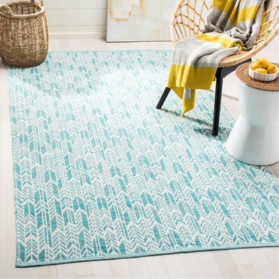 Legaspi Hand-Woven Aqua/Ivory Area Rug Rug Size: Rectangle 5 x 8