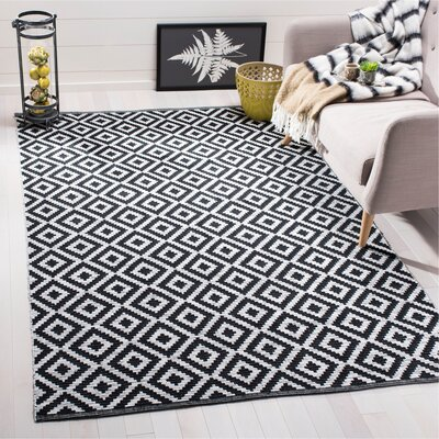 Harlow Hand-Woven Black/Ivory Area Rug Rug Size: Rectangle 5 x 8