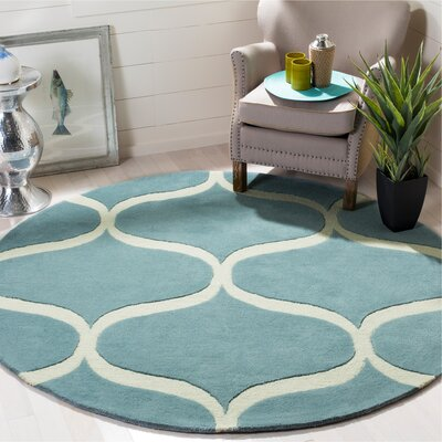 Martins Hand-Tufted Light Blue/Ivory Area Rug Rug Size: Round 6 x 6