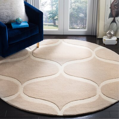 Martins Hand-Tufted Light Beige/Ivory Area Rug Rug Size: Round 6 x 6