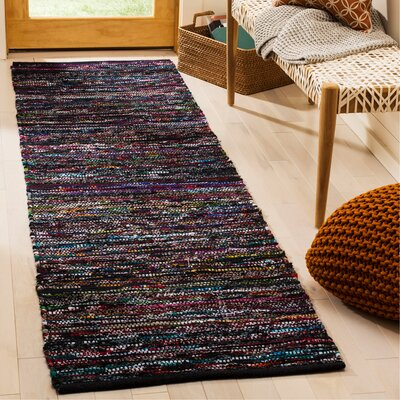 Shatzer Hand-Woven Black Area Rug Rug Size: Rectangle 23 x 8
