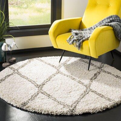 Elizabeth Street Ivory/Gray Area Rug Rug Size: Round 5