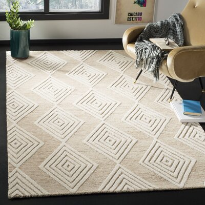 Pizano Hand-Woven Wool Beige/Ivory Area Rug Rug Size: Square 6
