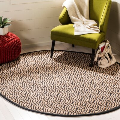 Astor Place Hand-Woven Black/Natural Area Rug Rug Size: Round 6