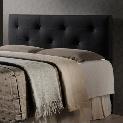 Haffey Upholstered Panel Headboard Size: Queen, Upholstery: Black