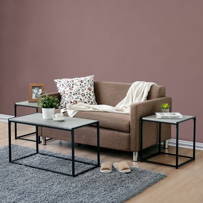 Andresen 3 Piece Coffee Table Set Color: Stone