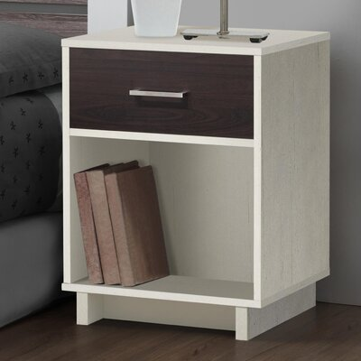 Chicopee Modern 1 Drawer Nightstand Color: Vintage White/Espresso
