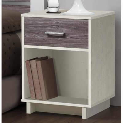 Chicopee Modern 1 Drawer Nightstand Color: Vintage White/Rustic