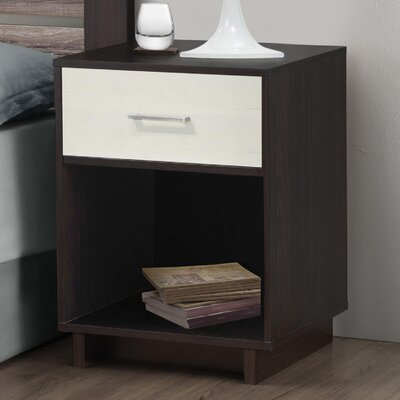 Chicopee 1 Drawer Nightstand Color: Espresso/Vintage White