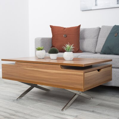 Denson Melamine Veneer Wood Hidden Storage Lift Top Coffee Table