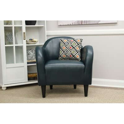 Potts Barrel Chair Upholstery: Blue-Green Leatherette
