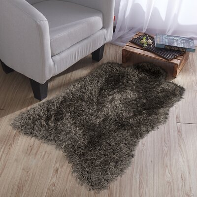Costantino Fuzzy High Pile Dark Gray Area Rug
