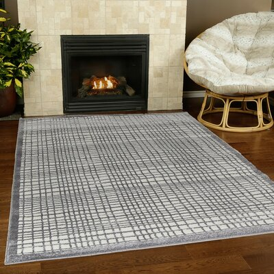 Bridgers Gingham Gray Area Rug Rug Size: Rectangle 311 x 57