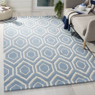 Wilkin Hand-Tufted Blue/Ivory Area Rug Rug Size: Rectangle 5 x 8