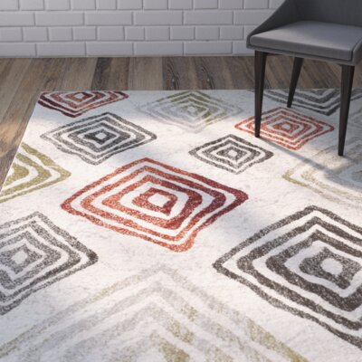 Shroyer Ivory/Green Area Rug Rug Size: Rectangle 53 x 77