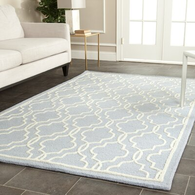 Martins Hand-Tufted Wool Light Blue/Ivory Area Rug Rug Size: Rectangle 4 x 6